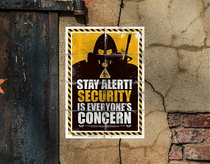 Murales de pared a medida Stay Alert! Security is everyone's concern 05871