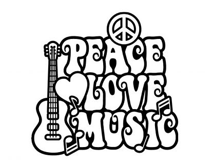 Vinilo decorativo estilo Hippie Peace, Love, Music 04995