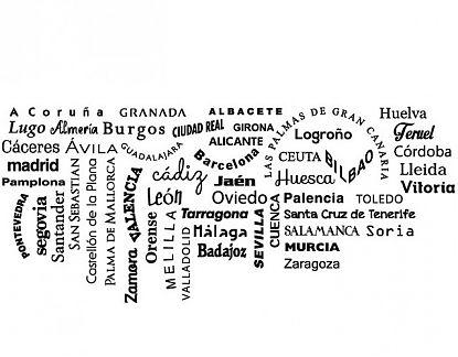 Vinilos Decorativos Mallorca.Vinilo Decorativo Con Todas Las Capitales De Provincia De