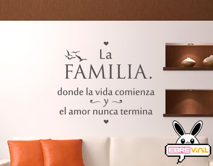 Vinilo Decorativo De Texto Con Una Frase Para La Familia